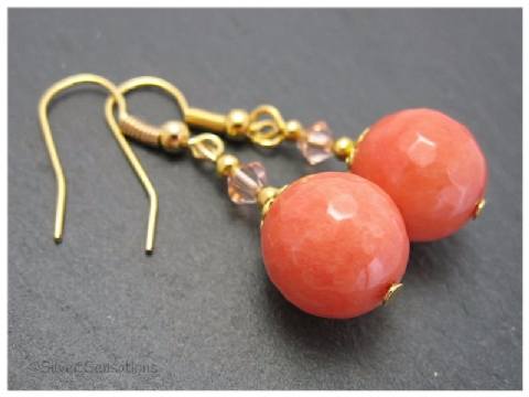 Orange Jade, Crystals & Gold Plated Short Drop Earrings